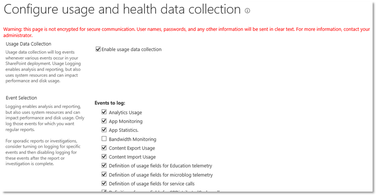 Figure 2 - Configure Usage and Health Data Collection